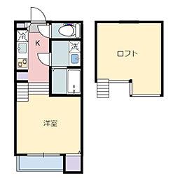 JR仙石線 小鶴新田駅 徒歩9分の賃貸アパート 1階1Kの間取り