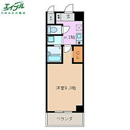 近鉄名古屋線 霞ヶ浦駅 徒歩10分の賃貸マンション 9階1Kの間取り