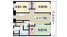 愛知県名古屋市守山区金屋2丁目の賃貸マンションの間取り