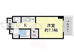 スペーシア江坂南金田 9階1Kの間取り