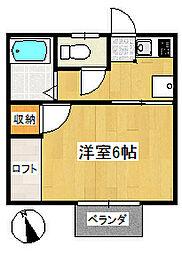 霊屋第二コーポナバタ[2階]の間取り