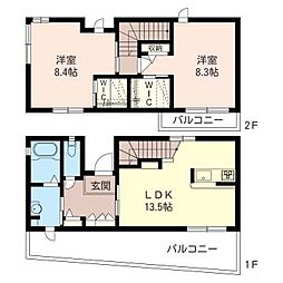 [テラスハウス] 神奈川県海老名市今里1丁目 の賃貸【/】の間取り