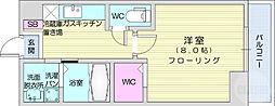 ウルス花京院A 1階1Kの間取り