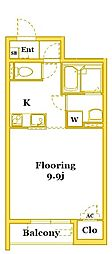 JR南武線 久地駅 徒歩6分の賃貸アパート 2階1Kの間取り
