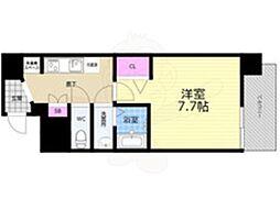 Osaka Metro長堀鶴見緑地線 谷町六丁目駅 徒歩5分の賃貸マンション 3階1Kの間取り