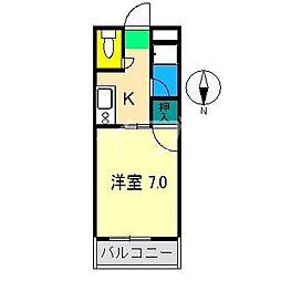 コーポAKI[4階]の間取り