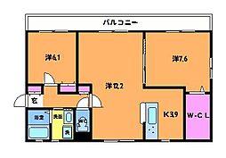 東京都世田谷区給田1丁目の賃貸マンションの間取り
