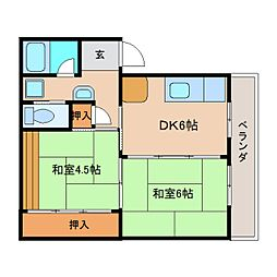 奈良県奈良市鳥見町4丁目の賃貸マンションの間取り