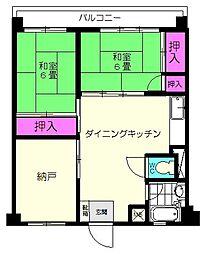 福岡高宮マンション[3階]の間取り