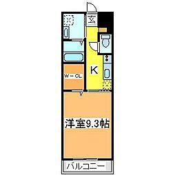 広島県東広島市西条朝日町の賃貸マンションの間取り