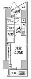 都営浅草線 東銀座駅 徒歩5分の賃貸マンション 9階ワンルームの間取り
