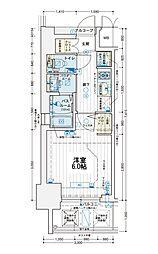 エステムコート難波WEST-SIDE Vアジュール 11階1Kの間取り