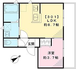 京王線 幡ヶ谷駅 徒歩8分の賃貸アパート 3階1LDKの間取り