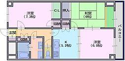 グラン・シャリオ二階堂 4階3Kの間取り