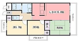 アンジュ東甲子園[501号室]の間取り