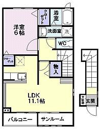 JR奥羽本線 北山形駅 徒歩19分の賃貸アパート 2階1LDKの間取り