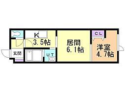 KANOn21 2階1DKの間取り