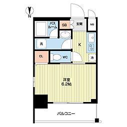 エステムコート名古屋泉プラチナムゲート 9階1Kの間取り