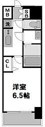 レオンコンフォート難波ノワール 8階1Kの間取り