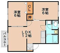 美生ハイツII[2階]の間取り