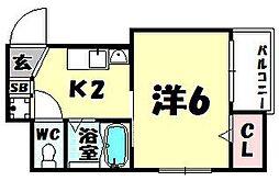 ベルメゾン天満[6階]の間取り