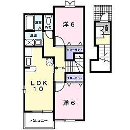 岡山県岡山市北区門前の賃貸アパートの間取り