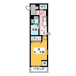 OKUEII 3階1Kの間取り