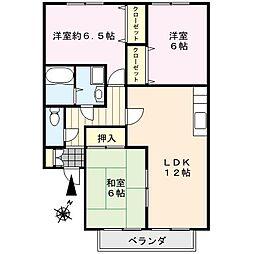 ファミーユシャトー[1階]の間取り
