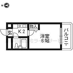 DETOM−1京都外大南208[2階]の間取り