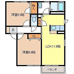 メゾンソレイユB棟[2階]の間取り