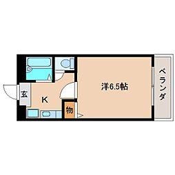 近鉄奈良線 富雄駅 徒歩4分の賃貸マンション 1階1Kの間取り