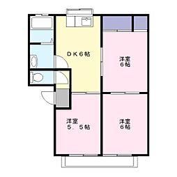 埼玉県草加市長栄3丁目の賃貸アパートの間取り
