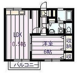 ドリーム5ハイツ B棟 2階1LDKの間取り