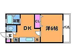 東京都調布市布田2丁目の賃貸アパートの間取り