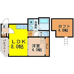 名古屋市営東山線 新栄町駅 徒歩7分の賃貸アパート 2階1SLDKの間取り