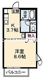 岡山県岡山市南区福田丁目なしの賃貸アパートの間取り