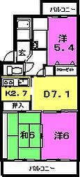 静岡県三島市南二日町の賃貸マンションの間取り
