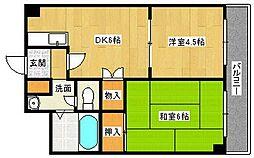 明日香マンション[4階]の間取り