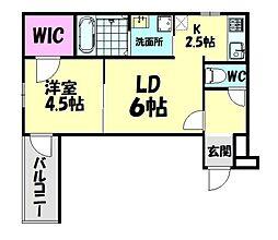 南海線 北助松駅 徒歩9分の賃貸アパート 2階1LDKの間取り