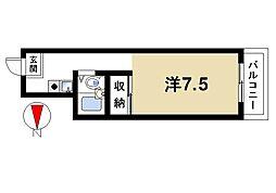 サンコーマンション 1階ワンルームの間取り