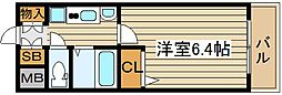 エステムコート梅田・天神橋リバーフロント 10階1Kの間取り