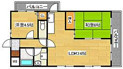 兵庫県神戸市垂水区東垂水町の賃貸マンションの間取り