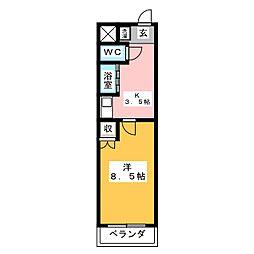 アイルーム四日市白須賀 2階1Kの間取り