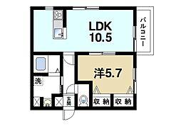 結充ImmeubleA館 3階1LDKの間取り