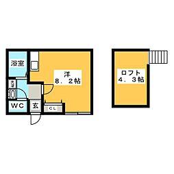 ランウェイ34R 2階ワンルームの間取り