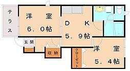 エスポワールB[1階]の間取り