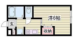 山陽電鉄本線 山陽姫路駅 徒歩28分の賃貸アパート 1階1Kの間取り