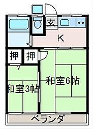 千鶴コーポ[2階]の間取り