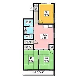 ハイツ蓬莱台[1階]の間取り