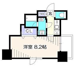 京王線 府中駅 徒歩5分の賃貸マンション 10階1Kの間取り